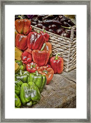 Pile Of Peppers Framed Print by Heather Applegate