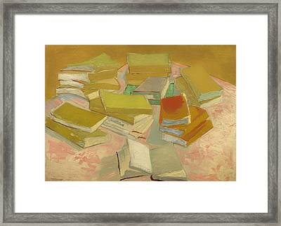 Piles Of French Novels Framed Print by Mountain Dreams