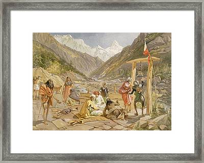 Pilgrims At Gangootree, From India Framed Print by William 'Crimea' Simpson
