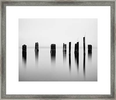 Pilings - Puget Sound - Tacoma - Washington - January 2014 Framed Print by Steve G Bisig
