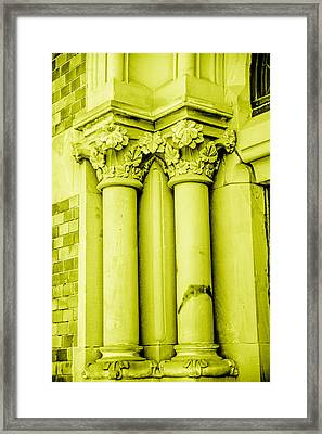 Pillar In Yellow Tone Framed Print by Toppart Sweden