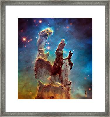 Pillars Of Creation In High Definition - Eagle Nebula Framed Print by Jennifer Rondinelli Reilly - Fine Art Photography