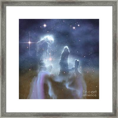 Pillars Of Creation In The Eagle Nebula Framed Print by Corey Ford