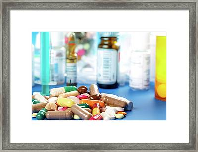 Pills And Tablets Framed Print by Wladimir Bulgar