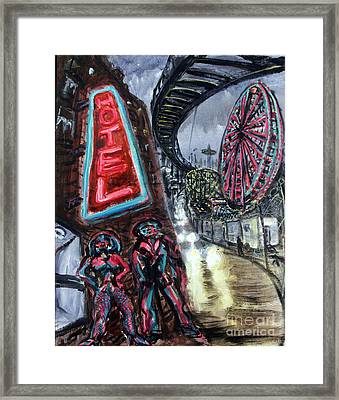 Pimp And Prostitute In Coney Island Framed Print by Arthur Robins