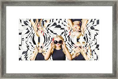 Pin Up Fashion Girl In Hall Of Mirrors Framed Print by Jorgo Photography - Wall Art Gallery