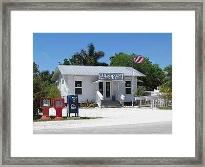 Pine Island Post Office Framed Print by Melinda Saminski