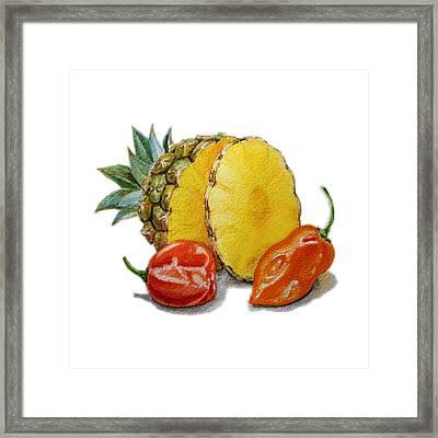 Pineapple Habanero Muy Caliente   Framed Print by Irina Sztukowski