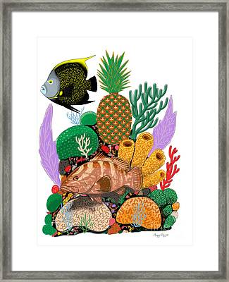 Pineapple Reef Framed Print by Carey Chen