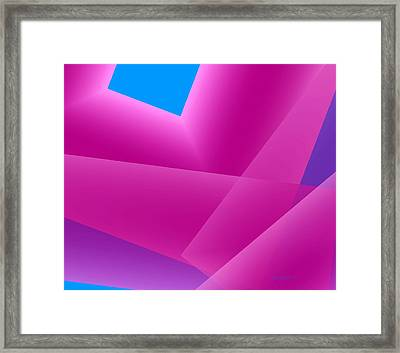 Pink And Blue Mixed Geometrical Art Framed Print by Mario Perez