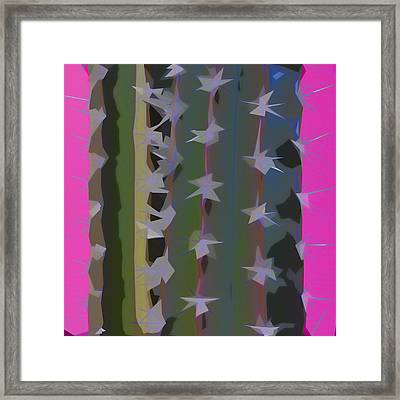 Pink And Green Cactus Collage Framed Print by Carol Leigh