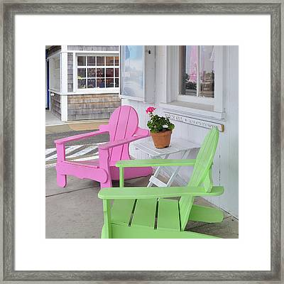 Pink And Green Chairs Watch Hill Rhode Island Framed Print by Marianne Campolongo