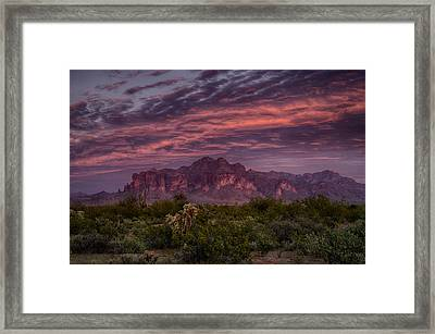Pink And Purple Desert Skies  Framed Print by Saija  Lehtonen