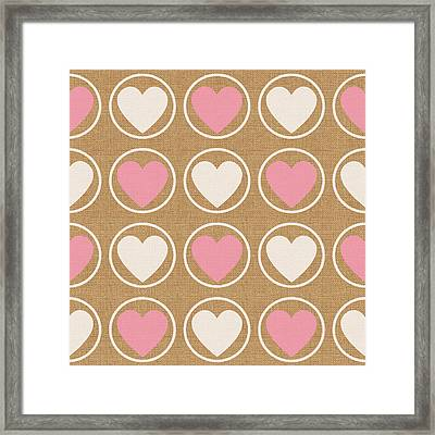 Pink And White Hearts Framed Print by Linda Woods