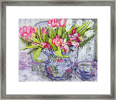 Pink And White Tulips Orchids And Blue Antique China Framed Print by Joan Thewsey