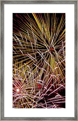 Pink And Yellow Fireworks Framed Print by Weston Westmoreland