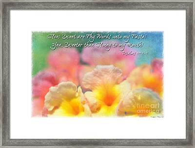 Pink And Yellow Lantana With Verse Framed Print by Debbie Portwood