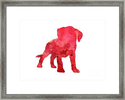 Pink Boxer Puppy Painting Watercolor Art Print Framed Print by Joanna Szmerdt