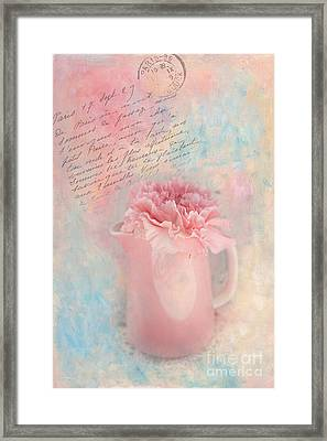 Pink Carnation In Pitcher Framed Print by Kay Pickens