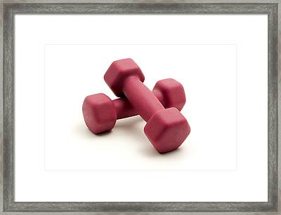 Pink Fixed-weight Dumbbells Framed Print by Fabrizio Troiani