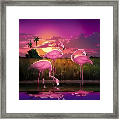 Pink Flamingos At Sunset Tropical Landscape - Square Format Framed Print by Walt Curlee