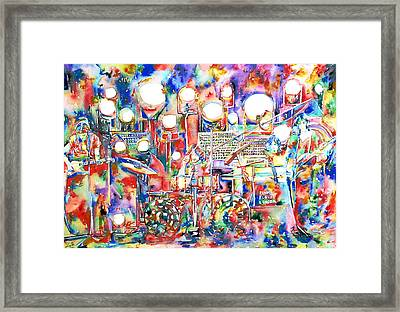 Pink Floyd Live Concert Watercolor Painting.1 Framed Print by Fabrizio Cassetta