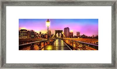 Pink Fog Of New York City Framed Print by Az Jackson
