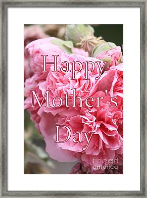 Pink Hollyhock Mother's Day Card Framed Print by Carol Groenen