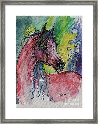Pink Horse With Blue Mane Framed Print by Angel  Tarantella