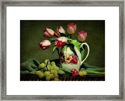 Pink In A Pitcher Framed Print by Diana Angstadt