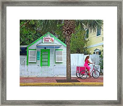 Pink Lady And The Conch Shop  Framed Print by Rebecca Korpita