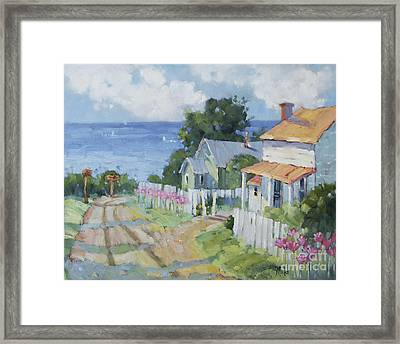 Pink Lady Lilies By The Sea By Joyce Hicks Framed Print by Joyce Hicks