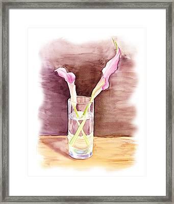 Pink Lilies Impressionistic Still Life  Framed Print by Irina Sztukowski
