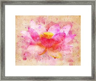 Pink Lotus Flower Abstract Artwork Framed Print by Nikki Marie Smith