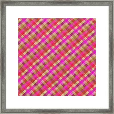 Pink Magenta And Green Plaid Textile Background Framed Print by Keith Webber Jr