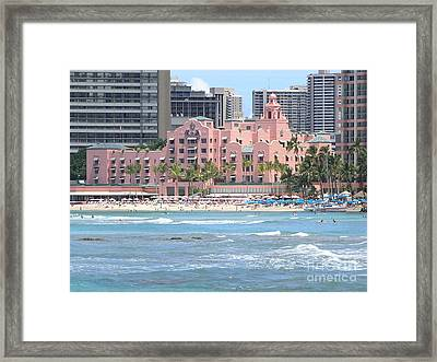 Pink Palace On Waikiki Beach Framed Print by Mary Deal