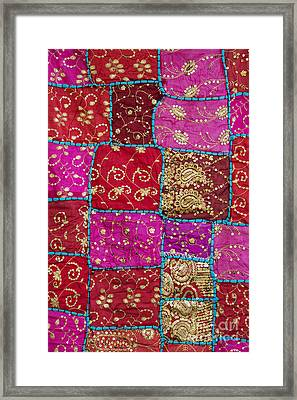Pink Patchwork Indian Wall Hanging Framed Print by Tim Gainey