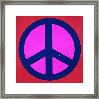 Pink Peace Symbol Framed Print by Art Block Collections