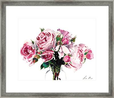Pink Peonies And Roses Framed Print by Laura Row Studio