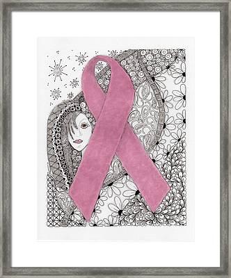 Pink Ribbon Framed Print by Paula Dickerhoff