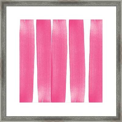 Pink Ribbons- Colorful Abstract Watercolor Painting Framed Print by Linda Woods