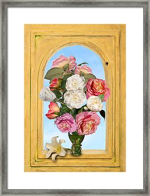 Pink Roses And White Peonis In Roemer In Open Niche Framed Print by Levin Rodriguez