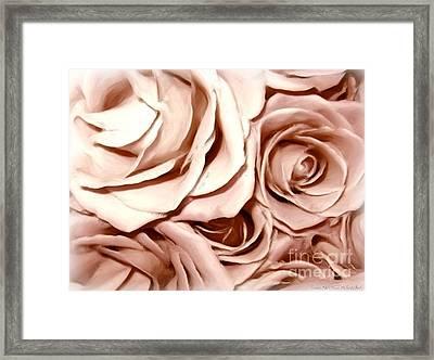 Pink Roses Bouquet Sketchbook Effect Framed Print by Rose Santuci-Sofranko