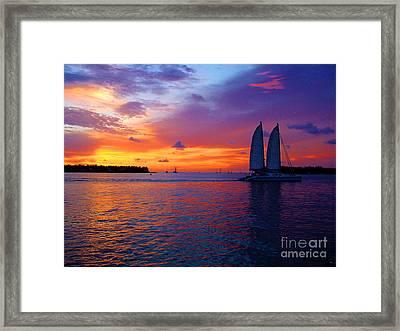 Pink Sunset In Key West Florida Framed Print by Susanne Van Hulst