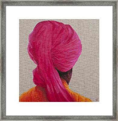 Pink Turban, Orange Jacket, 2014 Oil On Canvas Framed Print by Lincoln Seligman