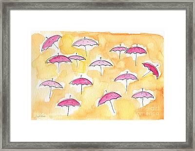 Pink Umbrellas Framed Print by Linda Woods