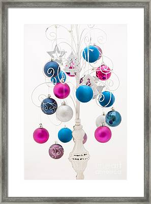 Pink White And Blue Christmas Framed Print by Anne Gilbert
