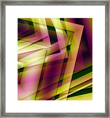 Pink Yellow And Green Geometry Framed Print by Mario Perez