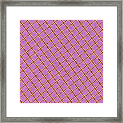 Pink Yellow Red Plaid Textile Fabric Background Framed Print by Keith Webber Jr