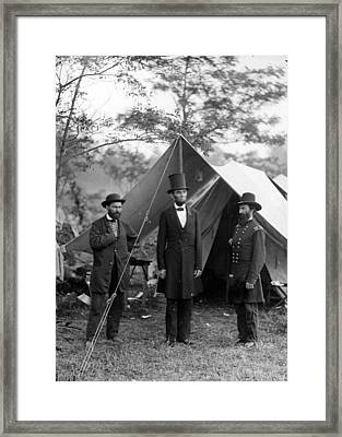 Pinkerton Lincoln And Mcclernand Framed Print by Georgia Fowler